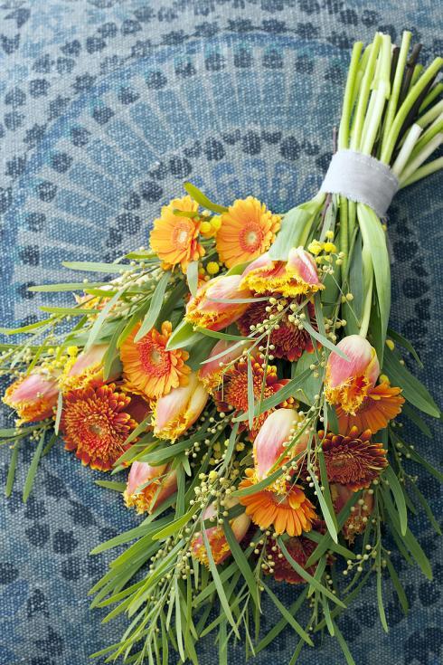 Foto TulpenZeit: Ausserordentlich harmonisch wirkt ein Arrangement, wenn die Blütenfarben der verschiedenen Schnittblumen aus derselben Farbfamilie stammen. Hier sind es Gerbera und gefranste Tulpen.