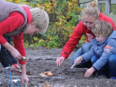 Foto: fluwel.de. - Blumenzwiebeln pflanzen ist kinderleicht: Man braucht lediglich ein kleines Schäufelchen und wetterfeste Kleidung.