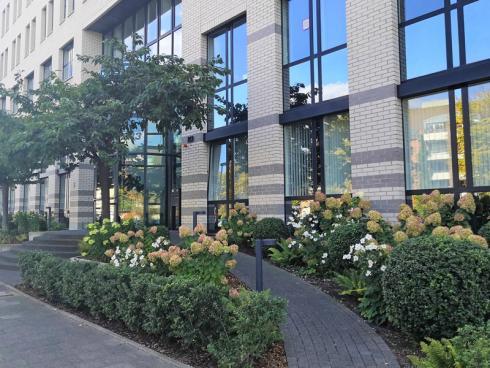 Bild BGL: Ein attraktiv bepflanzter Firmenvorgarten ist ein ganz konkreter Beitrag zur Verbesserung des Arbeits- und Lebensumfelds im bebauten Raum und heisst Mitarbeiter und Kunden herzlich willkommen.