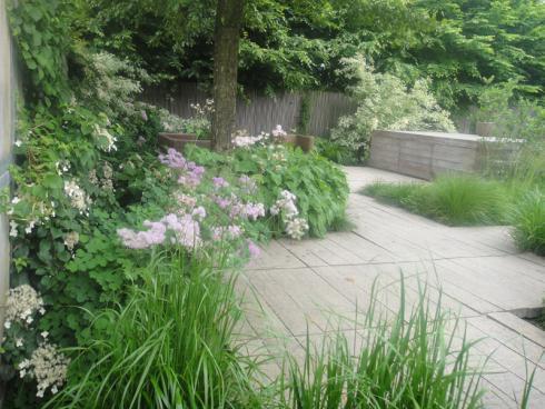 Bild elegrass: Gräser schaffen weiche und charmante Übergänge zwischen harten Kanten wie Mauern und Wegen oder wie hier zu einem Holzpodest.