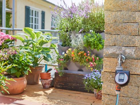 Eine Bewässerungssteuerung sorgt dafür, dass die Kräuter immer genügend Wasser bekommen.