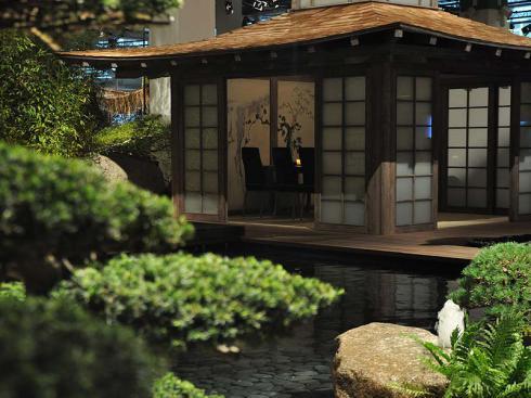 Oasen der ruhe koi teich - Japanisches gartenhaus ...