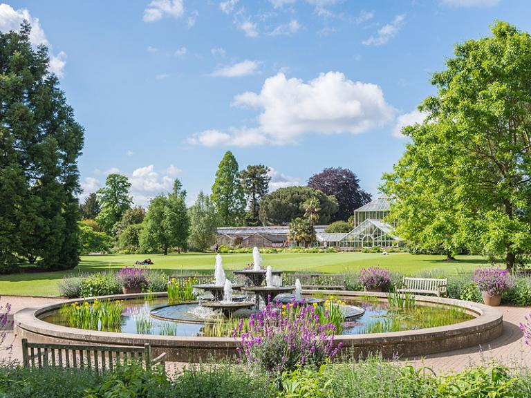 Bild: Cambridge University Botanic Garden - Fountain and main lawn